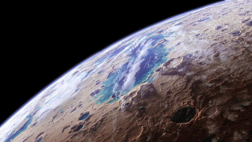 Eridania lake, Mars (artist's impression)