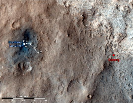 Curiosity route map to sol 29