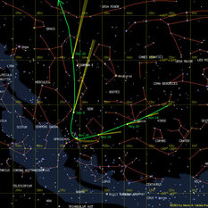 Predicted path of comet C/2012 S1 (ISON)