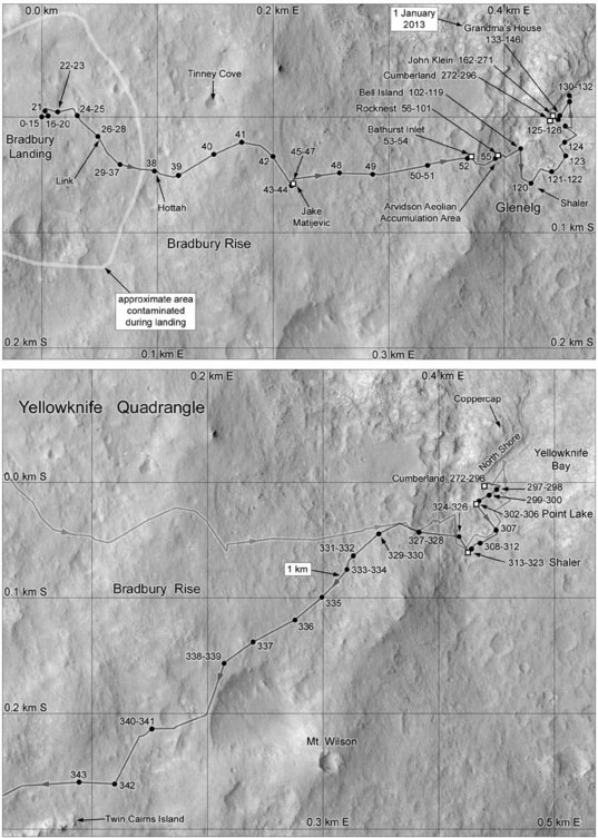 Phil Stooke's Curiosity Route Map: Landing to Twin Cairns Island (sol 0-343)