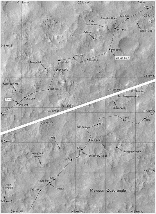 Phil Stooke's Curiosity Route Map: Bell River to Allan Nunatak (sols 344-384)