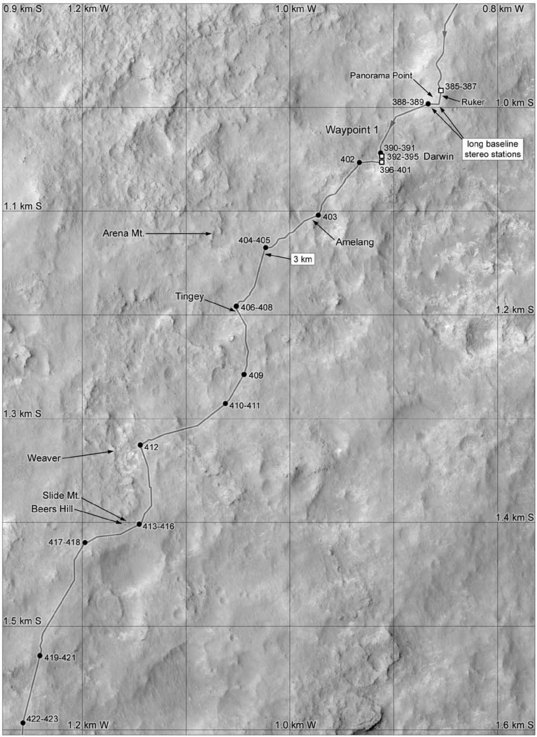 Phil Stooke's Curiosity Route Map: Panorama Point and following (sols 385-423)
