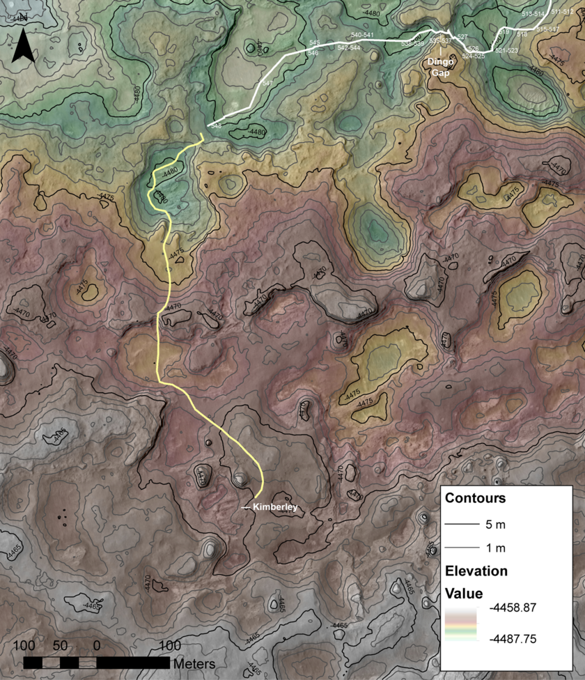 Contour map for region from Dingo Gap to Kimberley as of sol 548