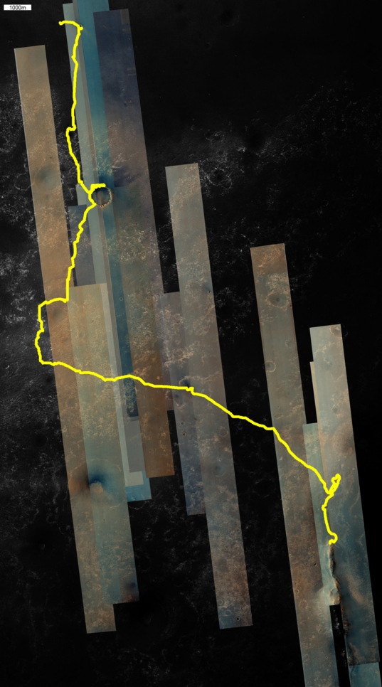 Map of HiRISE color image coverage for the Opportunity traverse