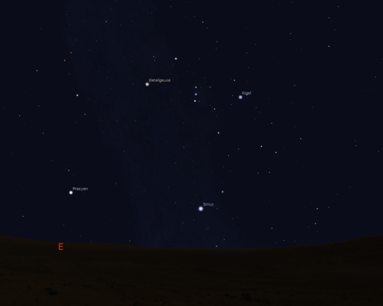 Orion at 10:00 p.m. in early December