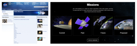 Comparing mission pages