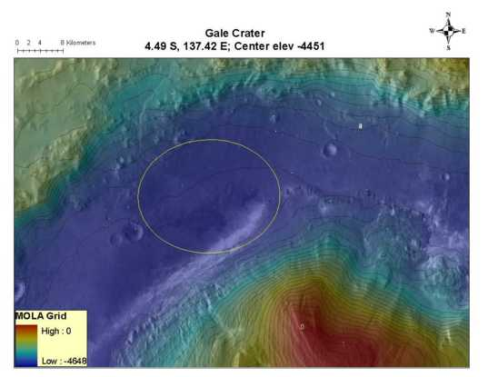 Potential MSL landing site in Gale Crater