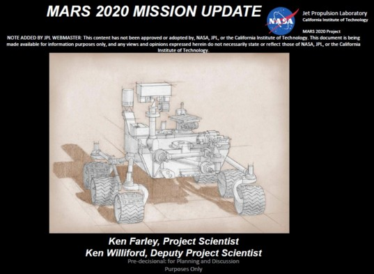 2020 NASA Mars rover concept drawing