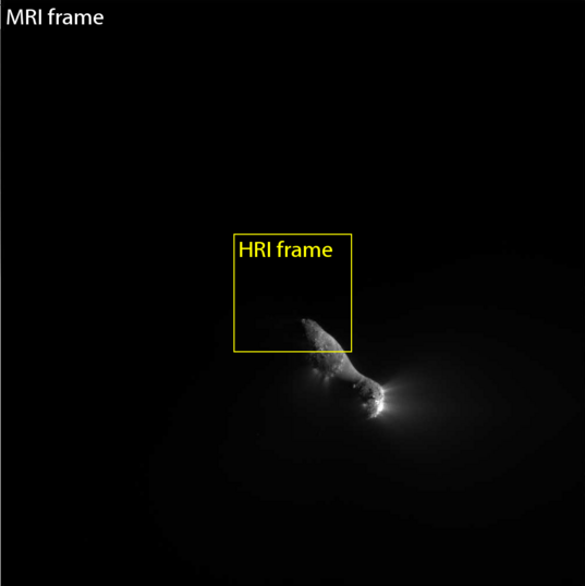 Deep Impact MRI and HRI fields of view near closest approach