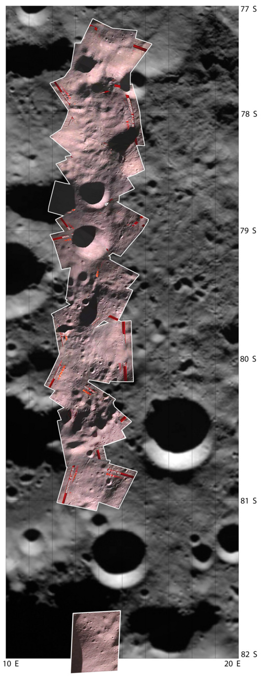 Mosaic of Chandrayaan-1 Moon Impact Probe images