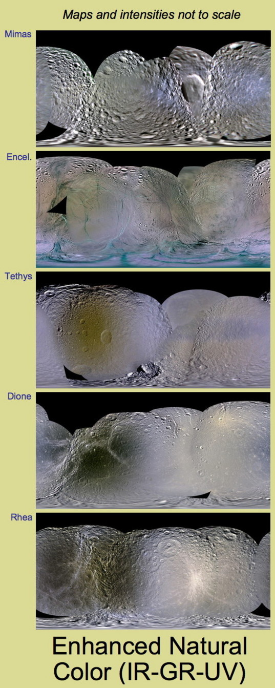 Colors of Saturn's mid-sized icy satellites