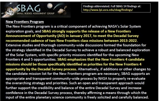 SBAG's statement on how new candidate missions should be added
