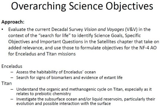 Science objectives for Enceladus and Titan presented by Dr. Green
