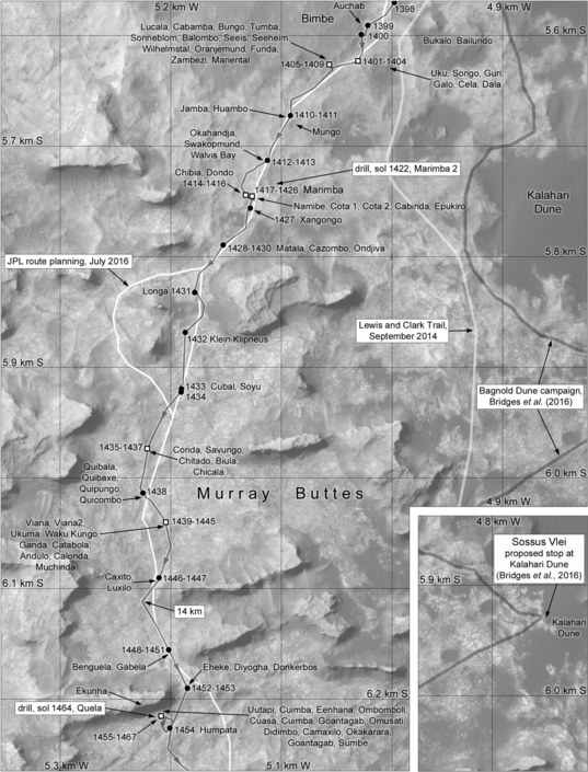 Phil Stooke's Curiosity route map: Murray buttes, sols 1400-1467