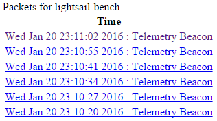 LightSail telemetry beacon screenshot