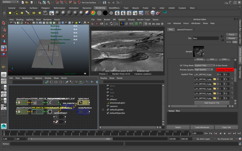 Setting up the model in Autodesk Maya, a professional animation suite