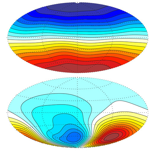 Radial component of the magnetic field on Earth and Mars
