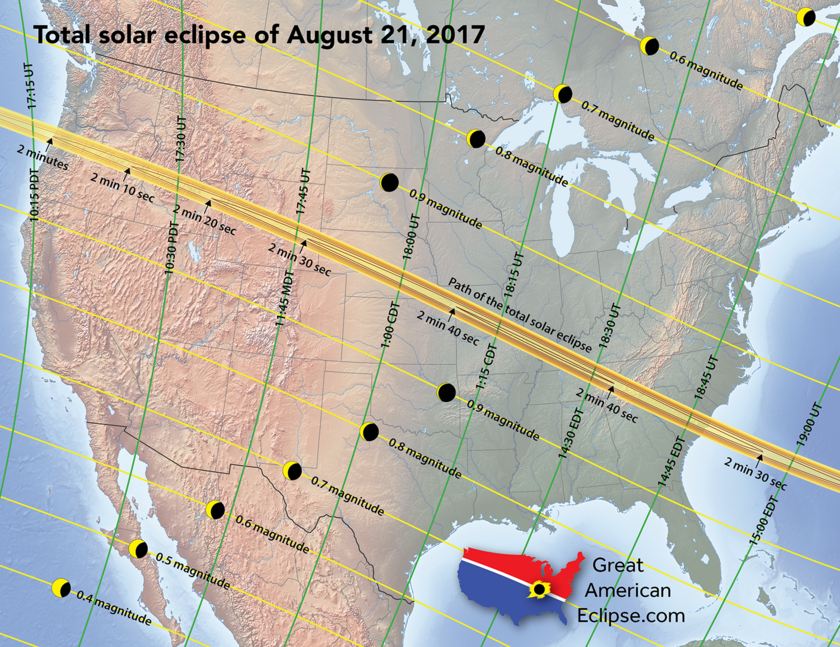 Map of the solar eclipse on August 21, 2017