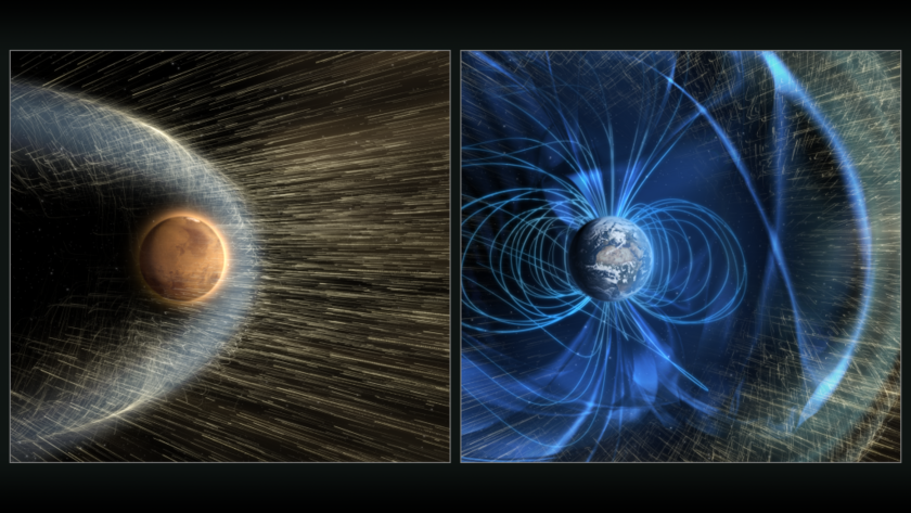 The magnetic fields of Mars and Earth
