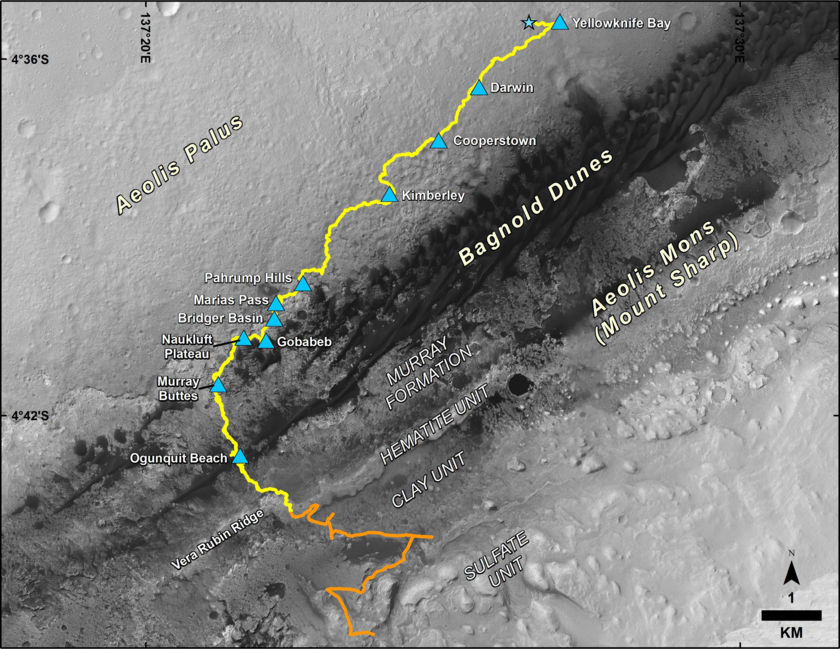 Past and schematic future path for Curiosity as of January 2018 (sol 1900)