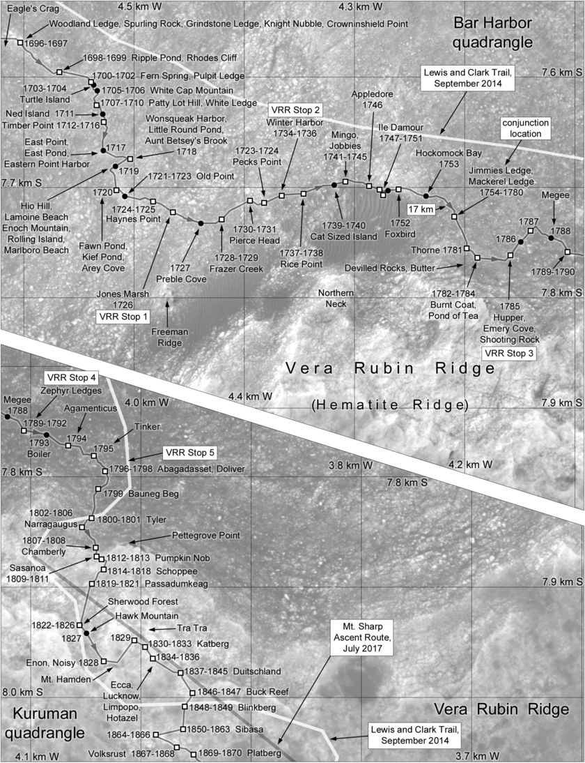 Phil Stooke's Curiosity Route Map #42: Along the Base of Vera Rubin Ridge (sols 1696-1870)