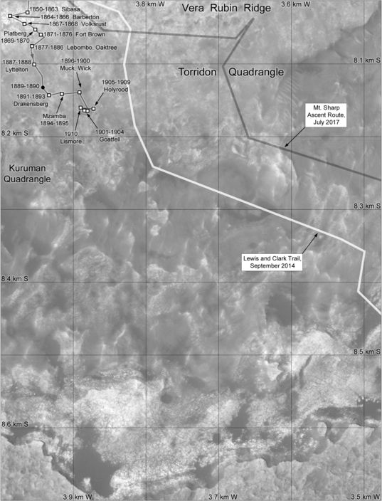 Phil Stooke's Curiosity Route Map: Across Vera Rubin Ridge (in progress), sols 1850-1910
