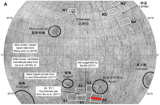 Potential Chang'e-4 landing sites
