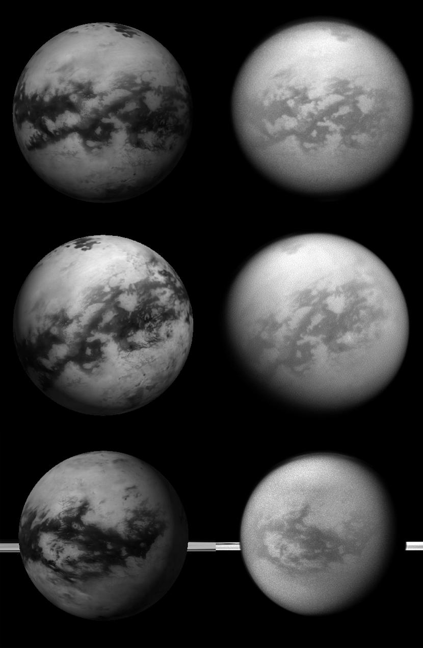 Celestia simulated views vs. Cassini global shots