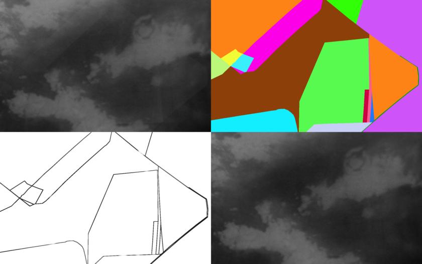 Example of original block, fragment map, inpainted seams, and final restored block