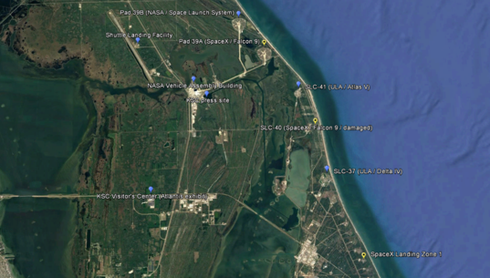 Major KSC / Cape Canaveral launch facilities