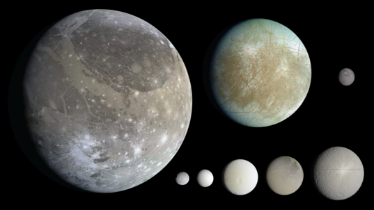 Eight icy moons of the outer solar system