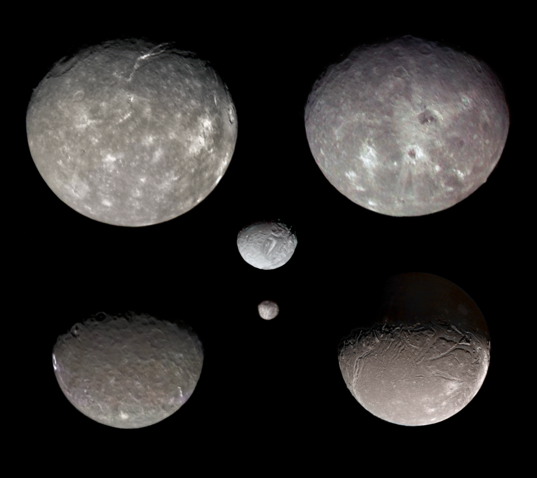 The moons of Uranus, to scale