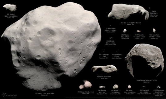 Asteroids and comets visited by spacecraft as of June 2018, in color, excepting Vesta