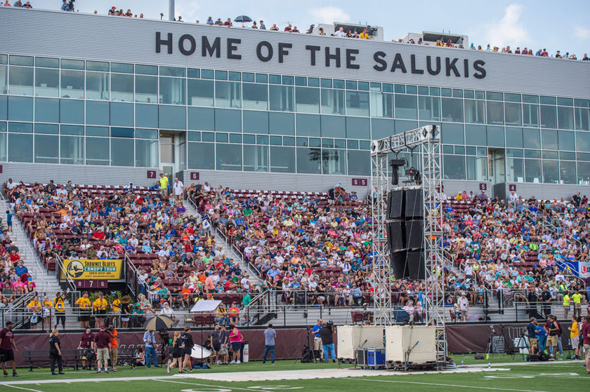 Over 14,000 people gathered at SIUC Saluki Stadium to celebrate the eclipse