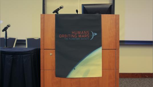 Humans Orbiting Mars workshop podium