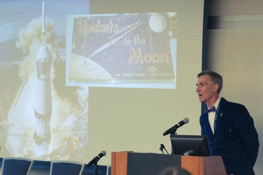 Bill Nye presenting at the Humans Orbiting Mars workshop