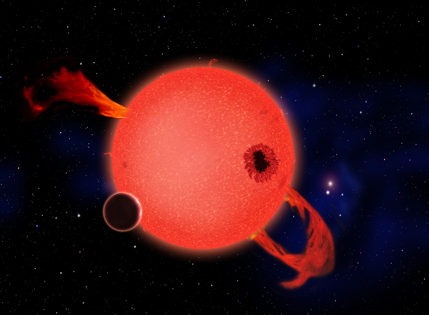 Hypothetical Earth-size planet orbiting a young red dwarf