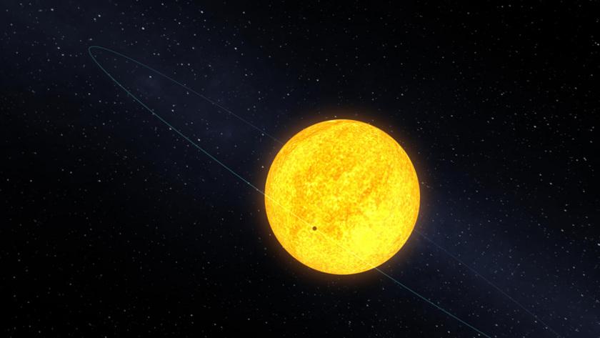 Planet Kepler-10b transiting its host star (artist's depiction)