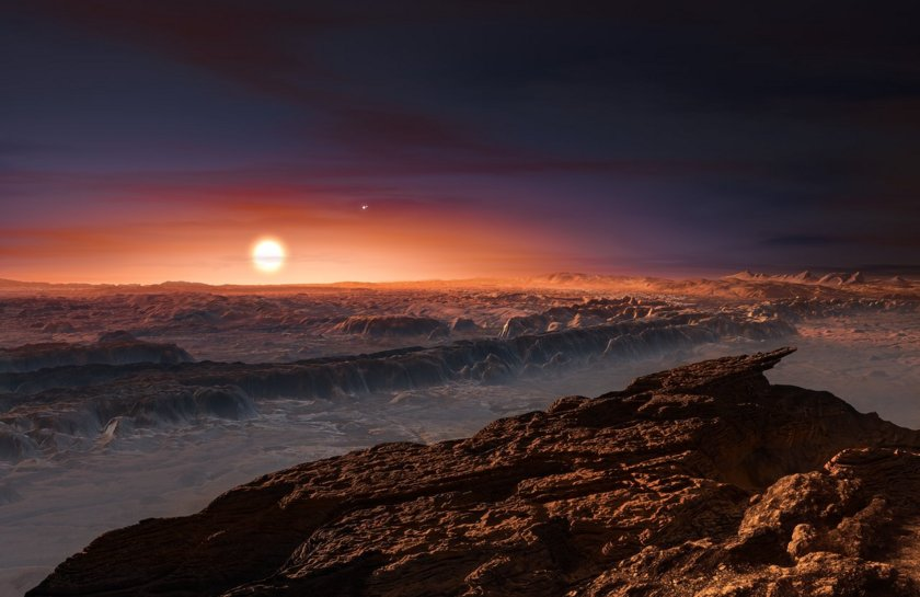 Artist's impression of the surface of planet Proxima Centauri b