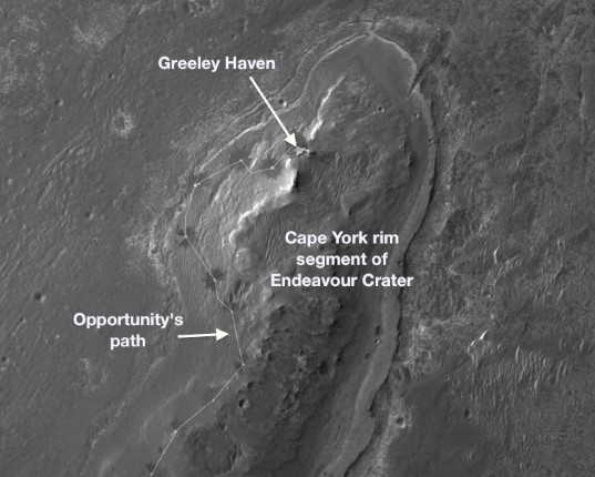 Orbital view of Greeley Haven