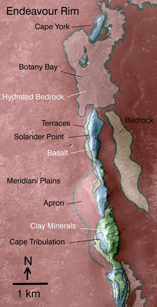 Geologic map of Endeavour's western rim