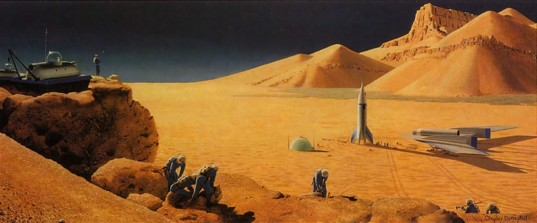A Martian landscape by Chesley Bonestell