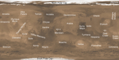 Mars weather reference map