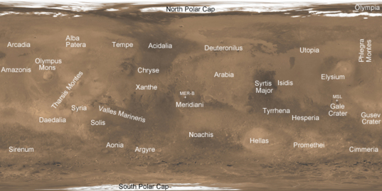 Mars reference map