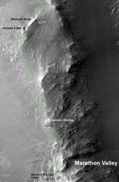 Opportunity's route south