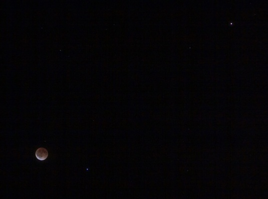 Lunar eclipse, Spica and Mars