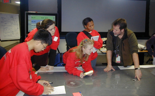 Student Astronauts: Cheng-Tao, Millie, Kristyn, and Nomathemba with Rob Manning