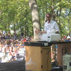 Bill Nye on the outdoor stage at Homestead National Monument of America in Beatrice, Nebraska