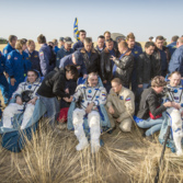 Expedition 36 crew relaxes on the steppe