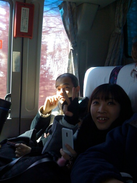 Ishi and Seiko on the next bus ride